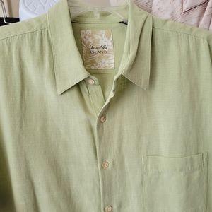 Tasso Elba Silk Linen Button-up Shirt 2XL Pale Moss Mens Casual Button Down XXL